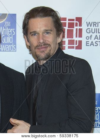 NEW YORK-FEB 1: Actor Ethan Hawke attends the 66th Annual Writers Guild Awards Ceremony at the Edison Ballroom on February 1, 2014 in New York City.