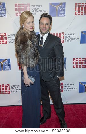 NEW YORK-FEB 1: Actress Caitlin Mehner and writer Danny Strong attend the 66th Annual Writers Guild Awards Ceremony at the Edison Ballroom on February 1, 2014 in New York City.