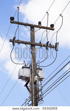Electricity Post At Rak Thai Village, Mae Hong Son, Thailand