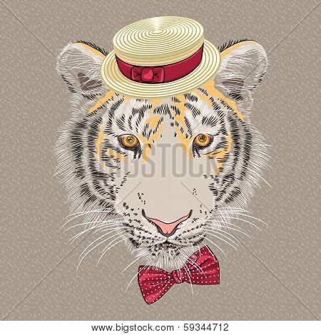 Vector Funny Cartoon Hipster Tiger