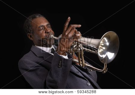 Black Jazz Flugelhorn Player