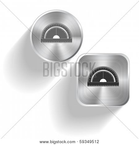 Protractor. Raster set steel buttons