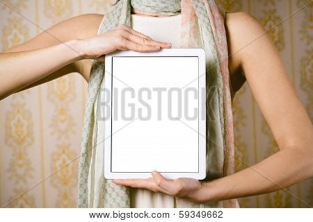 Vintage Fashion Woman Showing Tablet Screen