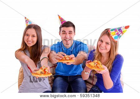 Three Friends With Pizza And Hats Isolated