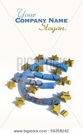 3D rendering of a blue marble euro symbol with golden stars lying broken against a white background