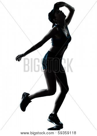 one caucasian woman runner jogger tired breathless in silhouette studio isolated on white background