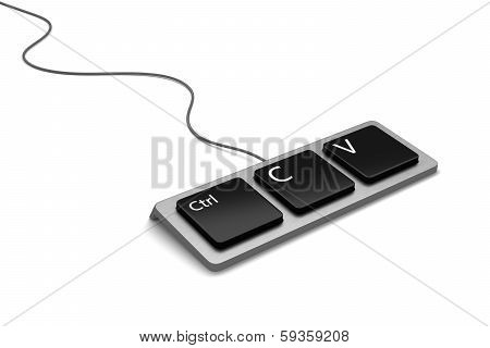 Keyboard With Three Buttons, Ctrl, C And V For Copy And Paste. New Flat Version.