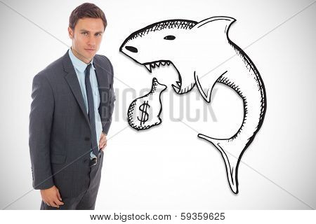 Serious businessman standing with hand on hip against loan shark illustration