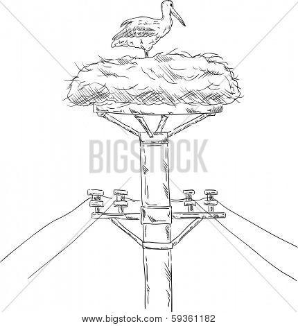 vector - White stork sitting on the nest on the mast