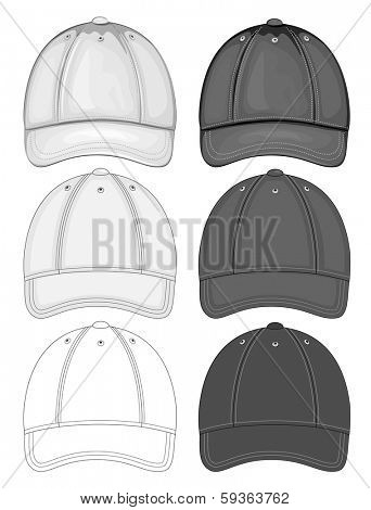Vector illustration of baseball cap (front view). Black and white different drawing variants. No mesh. Color redact easy.