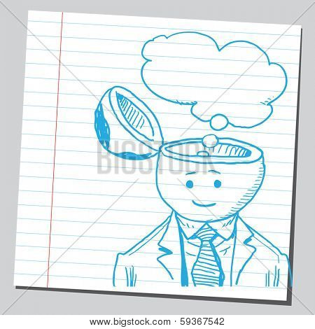 Businessman open headed with thought bubble (thinking concept)
