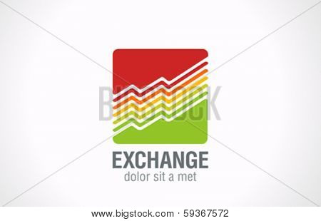 Finance Business dynamics graph vector logo design template. Stock Exchange Trading Charts as logotype creative concept symbol. Financial Shares Go up. Grow Funds investment icon.