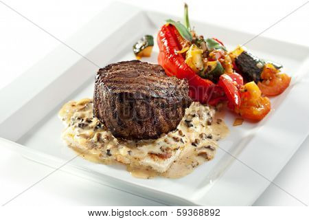 Beef Steak with Mushrooms Sauce and Roasted Vegetables