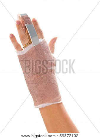 Hand With A Splint On The Middle Finger