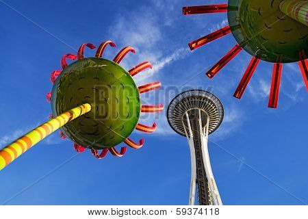 Space Needle With Sculpture