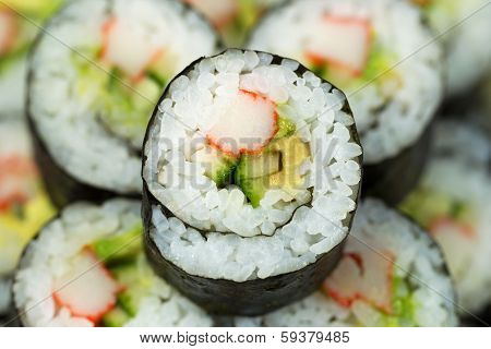 Macro Shot Of California Sushi Roll