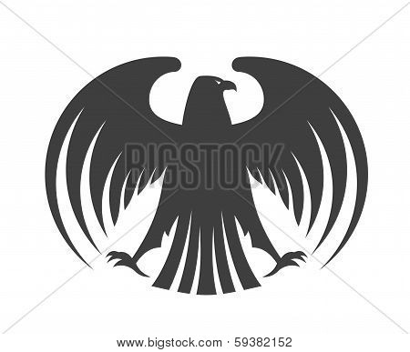 Silhouette of a black eagle with outspread wings