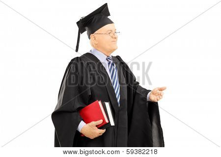 College professor in graduation gown holding books isolated on white background