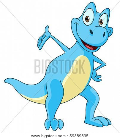 Smiling blue dinosaur presenting with his hand