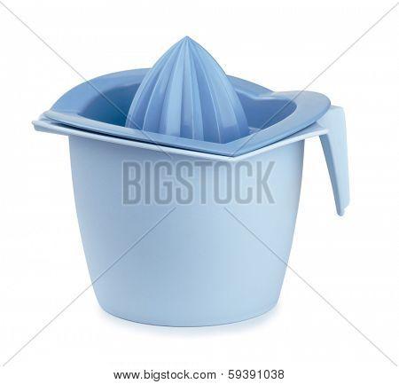 Blue plastic citrus squeezer isolated on white