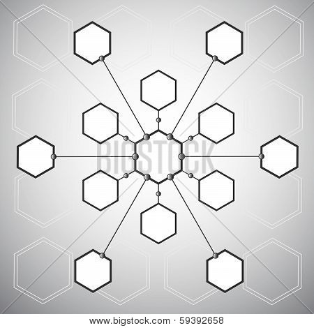 Connection Of The Thirteen  Hexagonal Cells On The Background Of The Polygons
