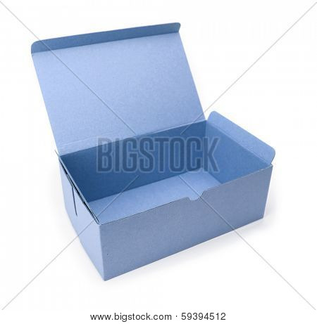 Blue box with lid open, isolated on white.