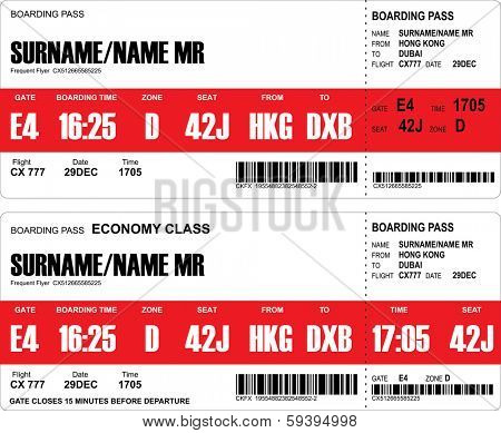 Vector image of airline boarding pass tickets with bar code