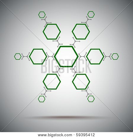 Thirteen Cells Of Different Sizes Interconnected. Green
