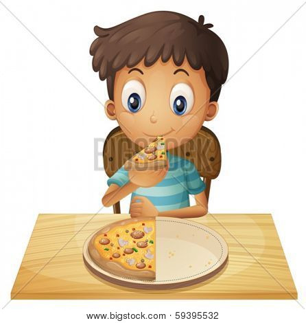 Illustration of a young boy eating pizza on a white background