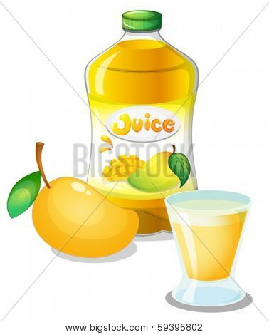 Illustration of a mango juice drink on a white background