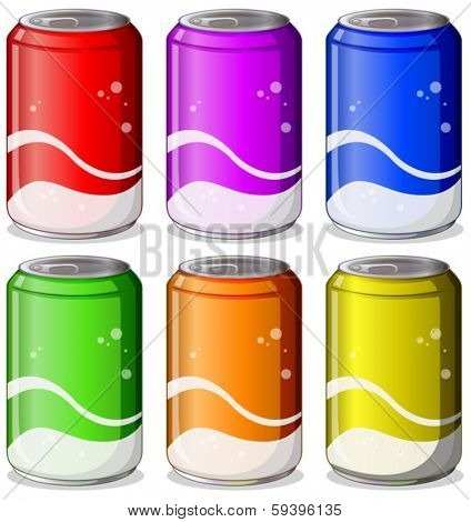 Illustration of the six colorful soda cans on a white background