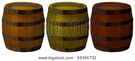 Illustration of the three wooden barrels on a white background
