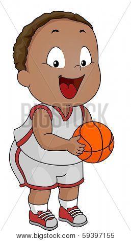 Illustration of a Little Boy Clad in Basketball Attire