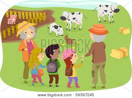 Illustration of a Group of Kids Touring a Farm with Their Grandparents