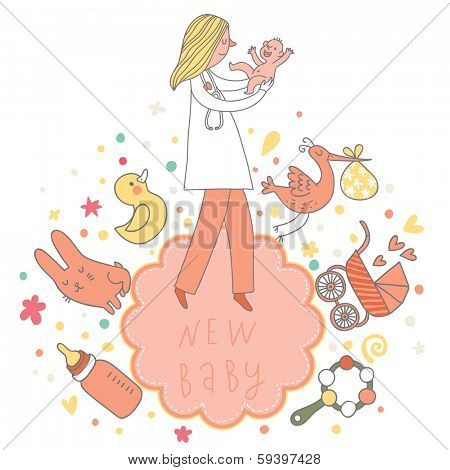 Concept baby card in pink colors with baby, doctor, toys, stork, beanbag, pacifier, rabbit, duck and other children symbols