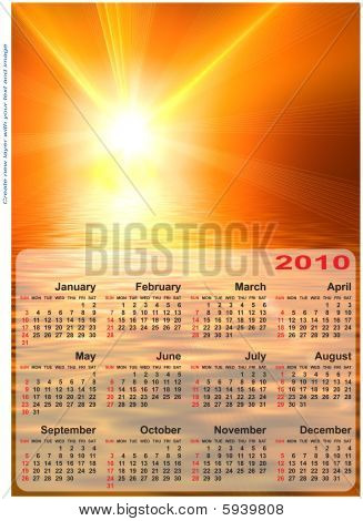 Abstract Design Template For 2010 Calendar.