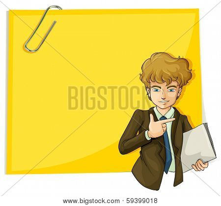 Illustration of a boy in front of the big empty paper with a clip on a white background