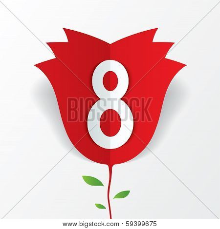 8 march red paper rose flower Women's Day card