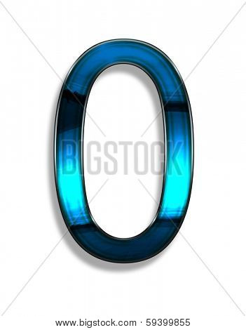 zero, illustration of  number with blue chrome effects on white background