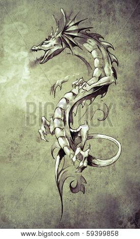 Sketch of tattoo art, big medieval dragon, fantasy concept