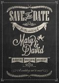 stock photo of chevron  - Save The Date Wedding invitation Card On Blackboard With Chalk - JPG