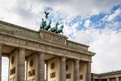 stock photo of rebuilt  - The Brandenburg Gate is a former city gate rebuilt in the late 18th century as a neoclassical triumphal arch and now one of the most well - JPG