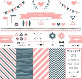 picture of ribbon bow  - Set of elements for wedding design - JPG