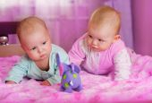 stock photo of twin baby girls  - portrait of two babies in pink room - JPG