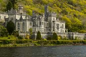 stock photo of galway  - Most famous Abbey in ireland called Kylemore Ireland - JPG
