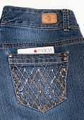 DAYTON, OHIO-FEBRUARY 2, 2014:Bandolino designer jeans pocket with Macys credit card. Bandolino is f
