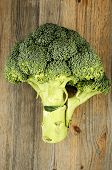 stock photo of cruciferous  - fresh cabbage broccoli on a wooden background - JPG