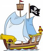 foto of pirate ship  - Vector illustration of cartoon style pirate ship - JPG