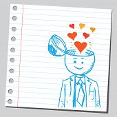 stock photo of sympathy  - Businessman open headed with hearts  - JPG
