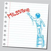 Businessman write word MILESTONE